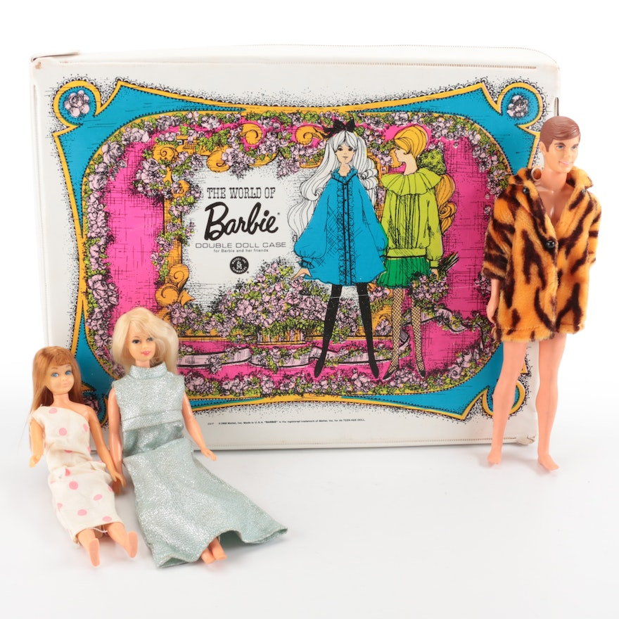 Vinyl Barbie Doll Case with Dolls and Clothing, Mid to Late 20th Century