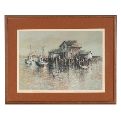 """Robert Fabe Offset Lithograph """"Old Harbor,"""" Late 20th Century"""