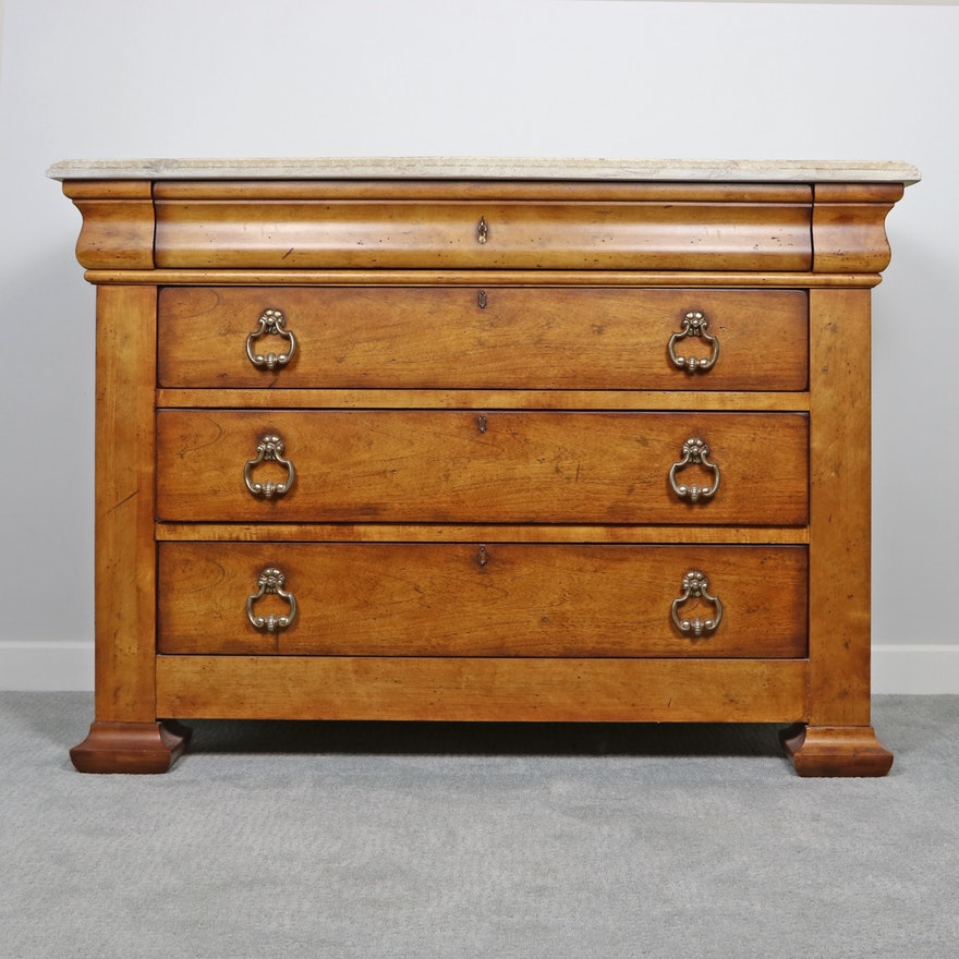 Century Wooden Chest of Drawers with Concrete Top