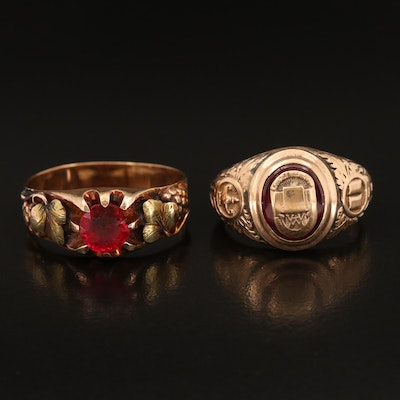 Vintage 10K Black Hills Gold and 1942 Class Rings with Ruby and Glass