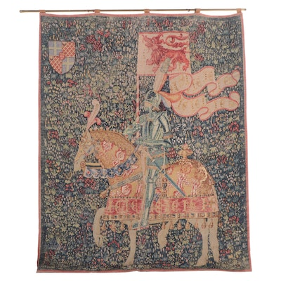 """Machine Made Printed Tapestry after """"Knight with the Arms of Jean de Daillon"""""""
