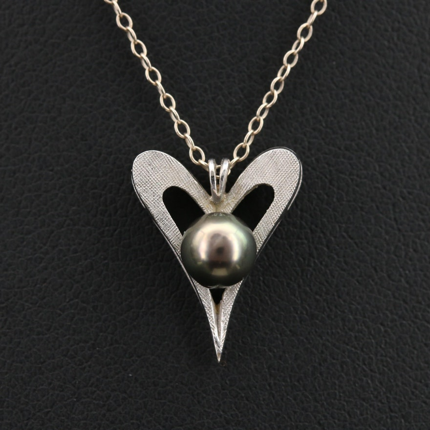 14K Pearl Heart Pendant Necklace