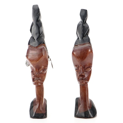 Hand-Carved Tribal Style Wood Busts