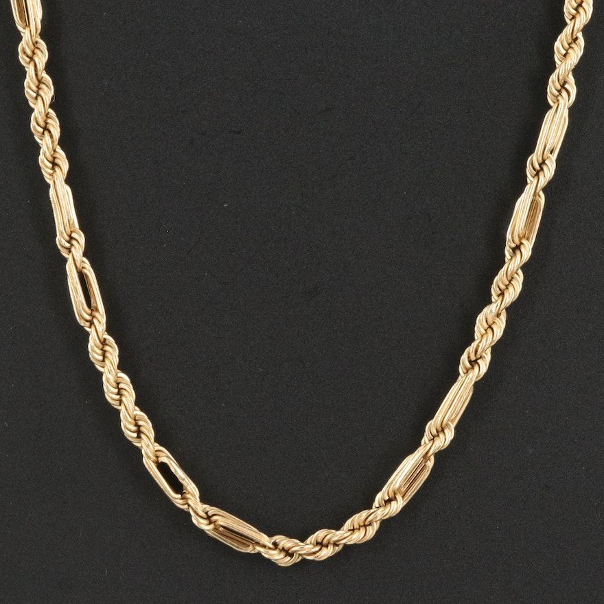 14K Figaro Rope Chain Necklace