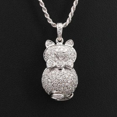 18K 1.35 CTW Diamond Cat with Bowtie Pendant Necklace