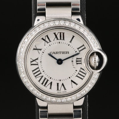 Cartier Ballon Bleu 0.72 CTW Diamond Stainless Steel Wristwatch