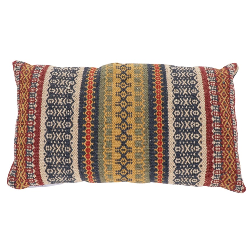 Handwoven Turkish Kilim Face Accent Pillow, 2000s