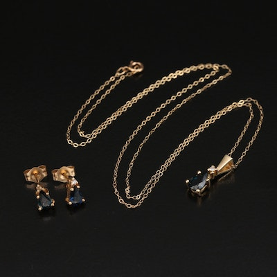 14K Sapphire and Diamond Teardrop Necklace and Earring Set