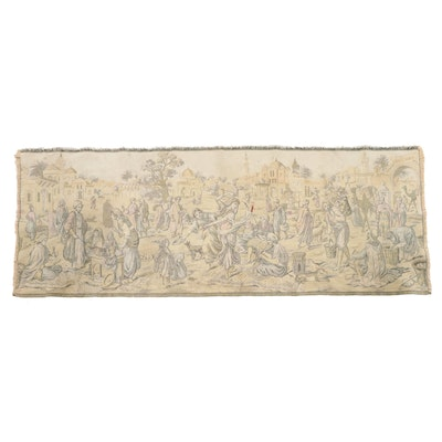 1'7 x 4'5 Machine Made European Pictorial Tapestry, 1960s