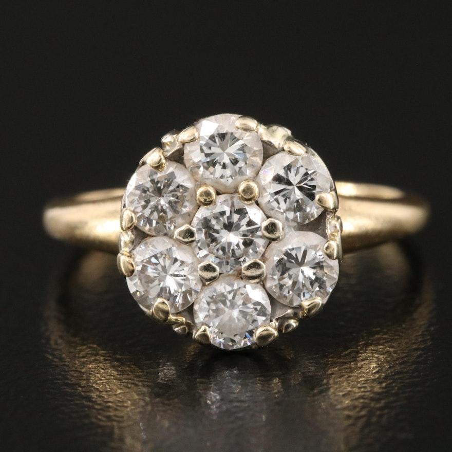 Vintage 1.08 CTW Diamond Cluster Ring