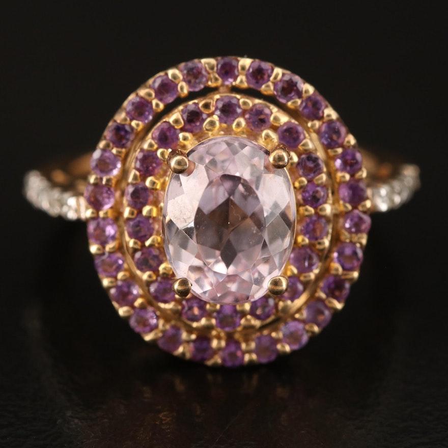 10K Amethyst and 0.10 CTW Diamond Ring