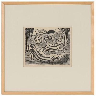 "Irving Amen Linoleum Print ""Nudes on the Grass,"" 1949"