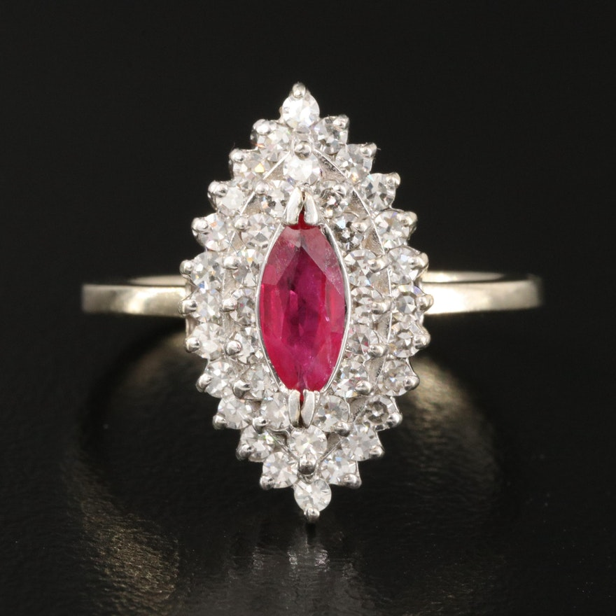 14K Diamond and Ruby Navette Ring