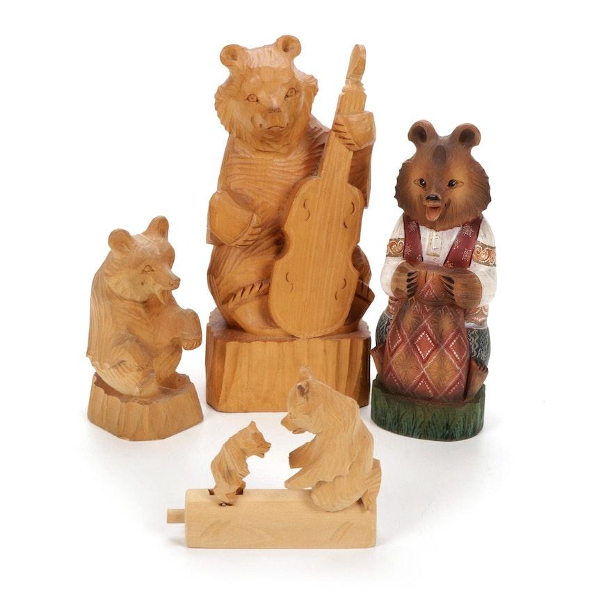 Russian Folk Art Hand-Carved Bear Sculptures