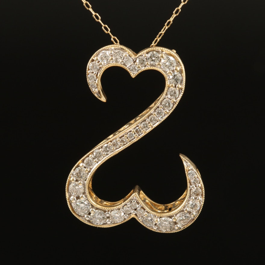 "Jane Seymour 14K 1.25 CTW Diamond ""Open Hearts"" Pendant Necklace"