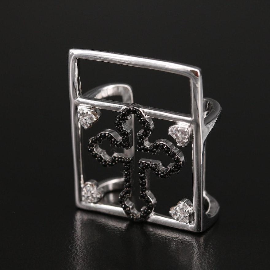 Sterling Zircon and Spinel Fit Bit Cross Enhancer Slide