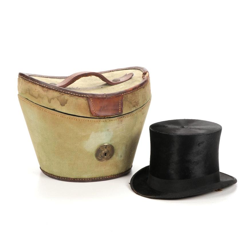 Dunlap & Co Black Velvet Top Hat With Case