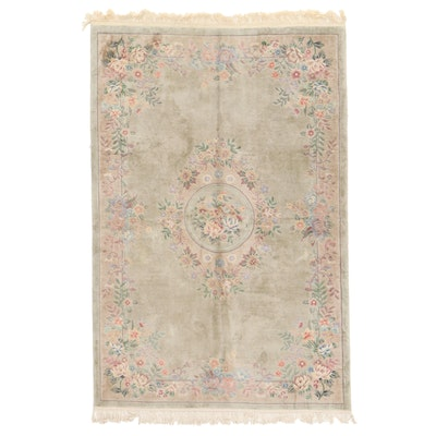 5'1 x 8'2 Hand-Knotted Chinese Silk Floral Rug, 2000s