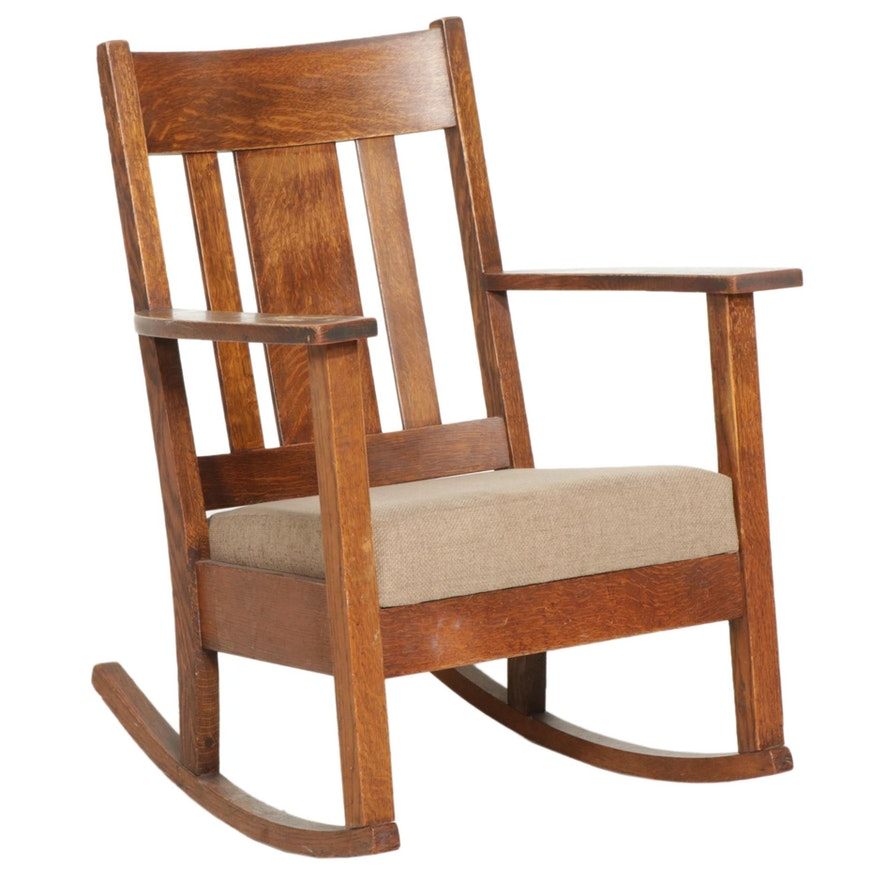 Gunlocke Arts and Crafts Style Oak Rocking Chair, Early 20th Century