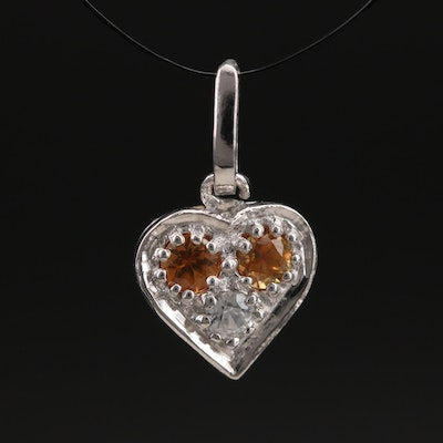 Sterling Sapphire and Zircon Heart Pendant