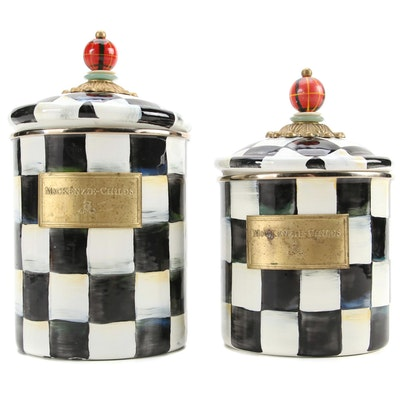"""MacKenzie-Childs """"Courtly Check"""" Enameled Metal Canisters"""