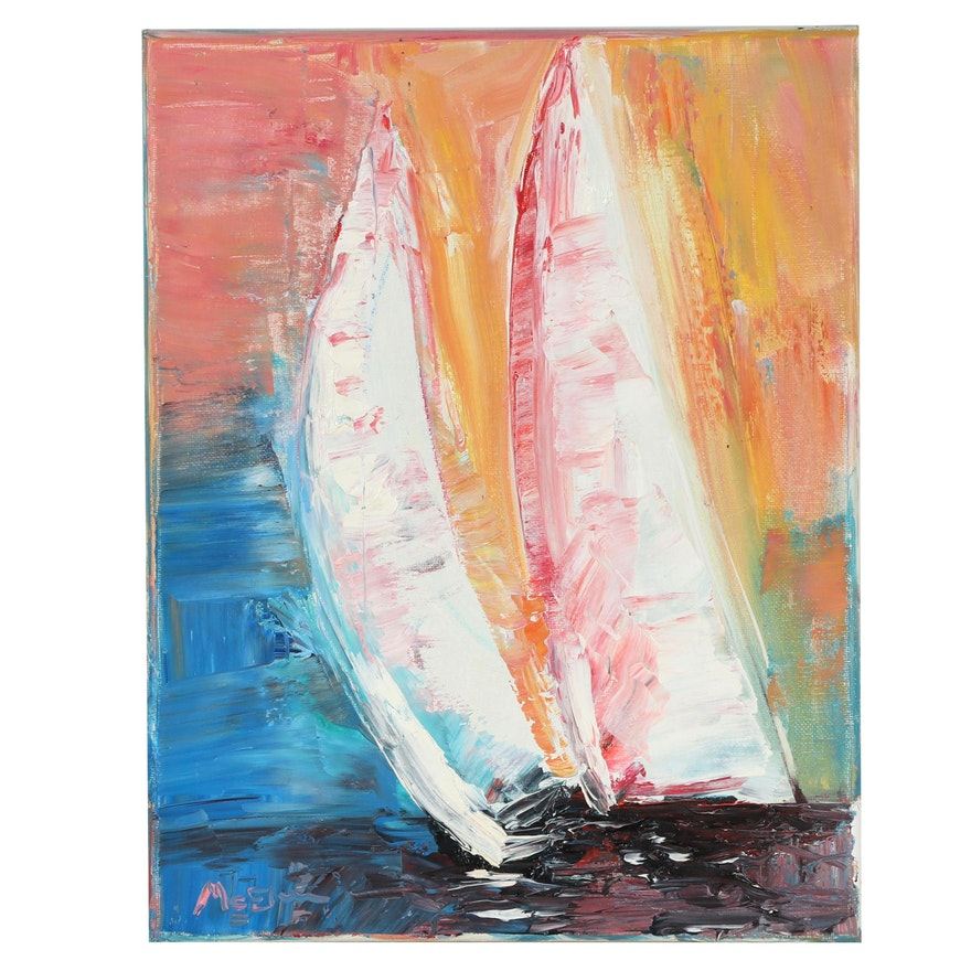 """Claire McElveen Oil Painting """"Morning Sail,"""" 2021"""