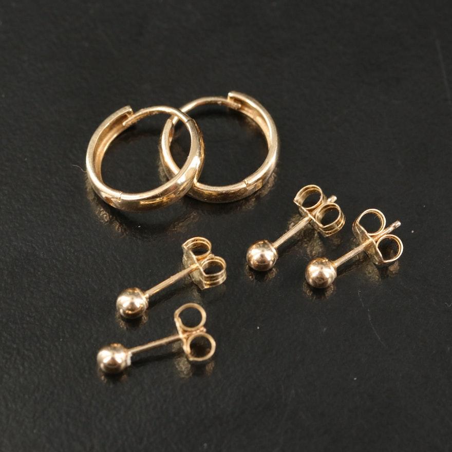 14K Hoop and Stud Earrings