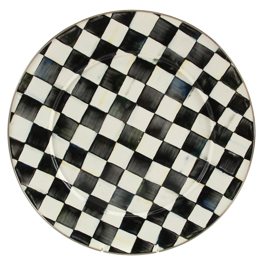 """MacKenzie-Childs """"Courtly Check"""" Enameled Metal  Serving Platter"""