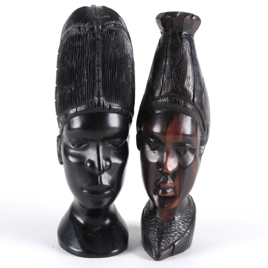 African Hand-Carved Exotic Hardwood Busts of Man and Woman