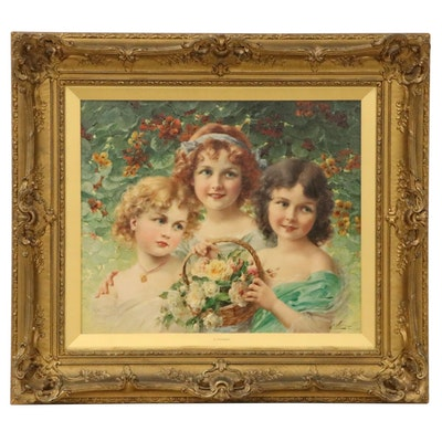 Émile Vernon Figurative Oil Painting of Young Girls With Flowers, 1913