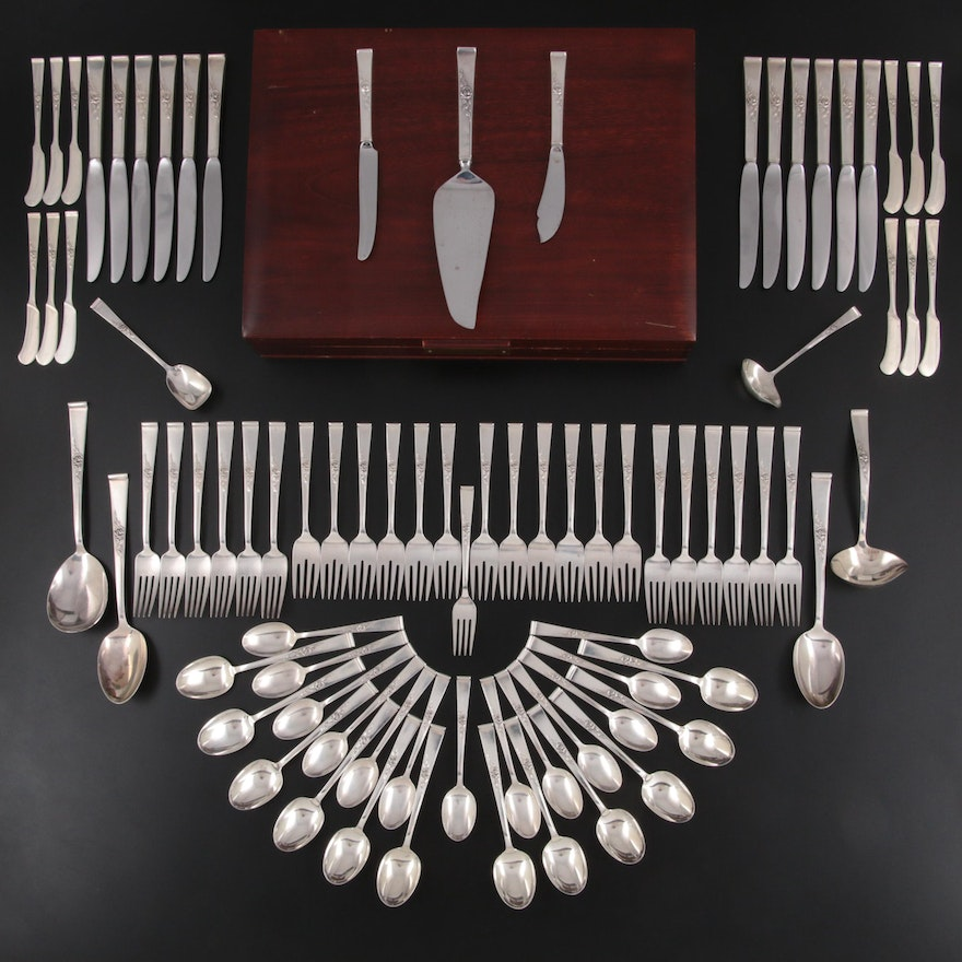 """Reed & Barton """"Classic Rose"""" Sterling Silver Flatware, Mid to Late 20th Century"""