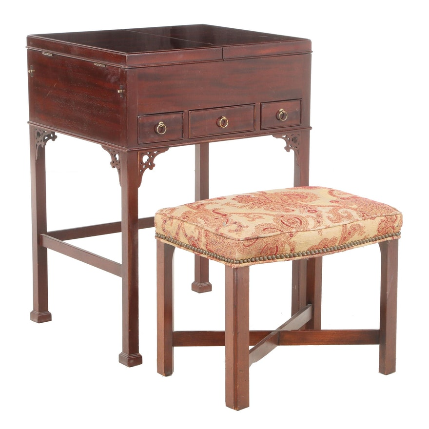 Baker George III Style Mahogany and Maple Enclosed Dressing Table Plus Stool