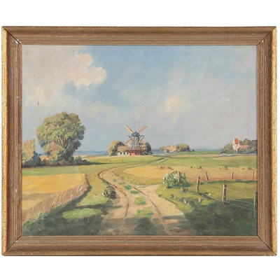 Landscape Oil Painting of Windmill, Mid-20th Century