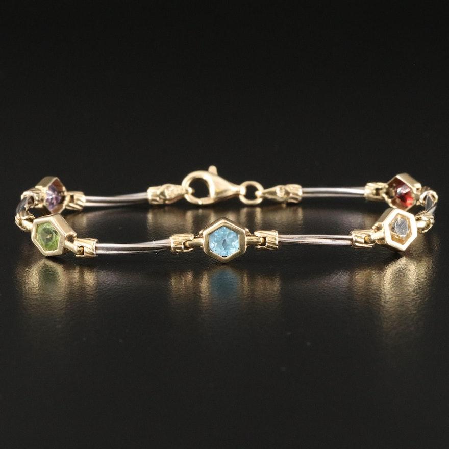14K Bezel Set Mixed Gemstone Station Bracelet