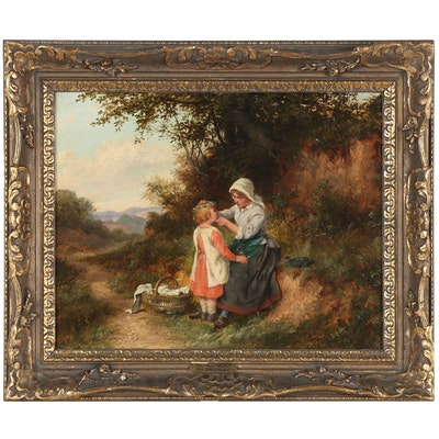"""William Bromley III Genre Oil Painting """"The Daisy Chain,"""" Circa 1880"""
