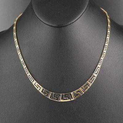 14K Graduated Greek Key Necklace