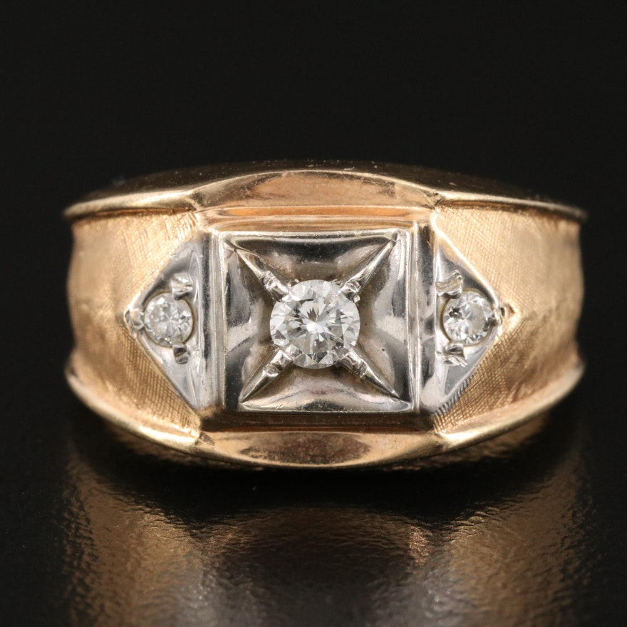 Vintage 14K 0.31 CTW Diamond Ring with Florentine Finish