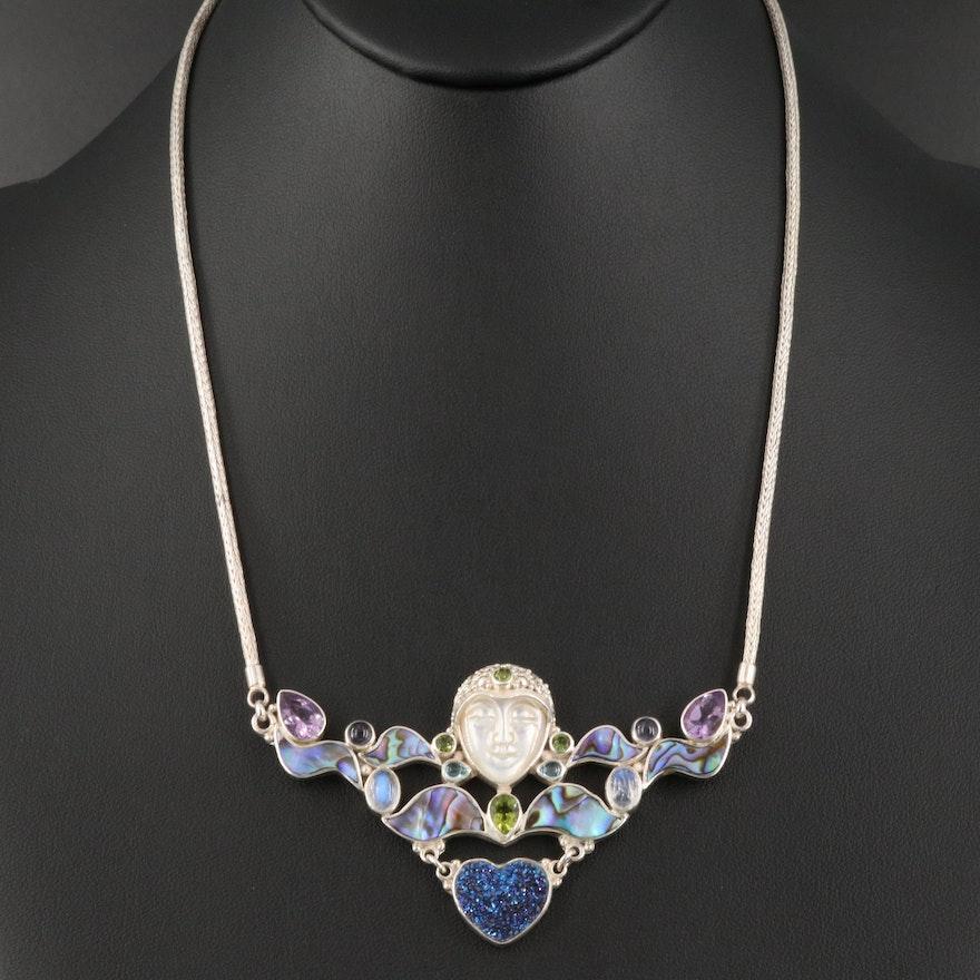 Sajen Sterling Abalone, Peridot, Amethyst and Gemstone Goddess Figural Necklace