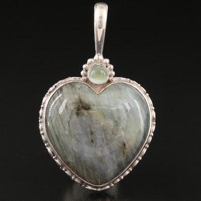 Sajen Sterling Labradorite and Moonstone Heart Pendant
