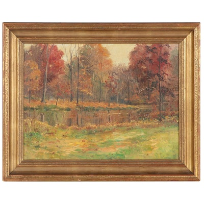"""Virginia Connatser Landscape Oil Painting """"Secluded Woods,"""" 1962"""