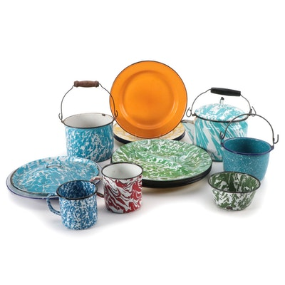 Multi-Colored Graniteware Plates, Cups, Pots, Dishes, and Teapot