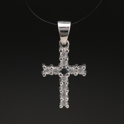 Sterling Zircon and Diamond Cross Pendant