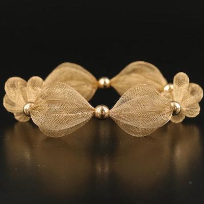 Italian Milor 14K Woven Mesh Cinched Bracelet