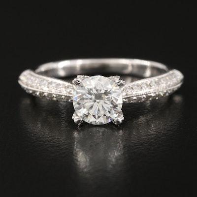 18K 1.45 CTW Diamond Ring with Milgrain Detail