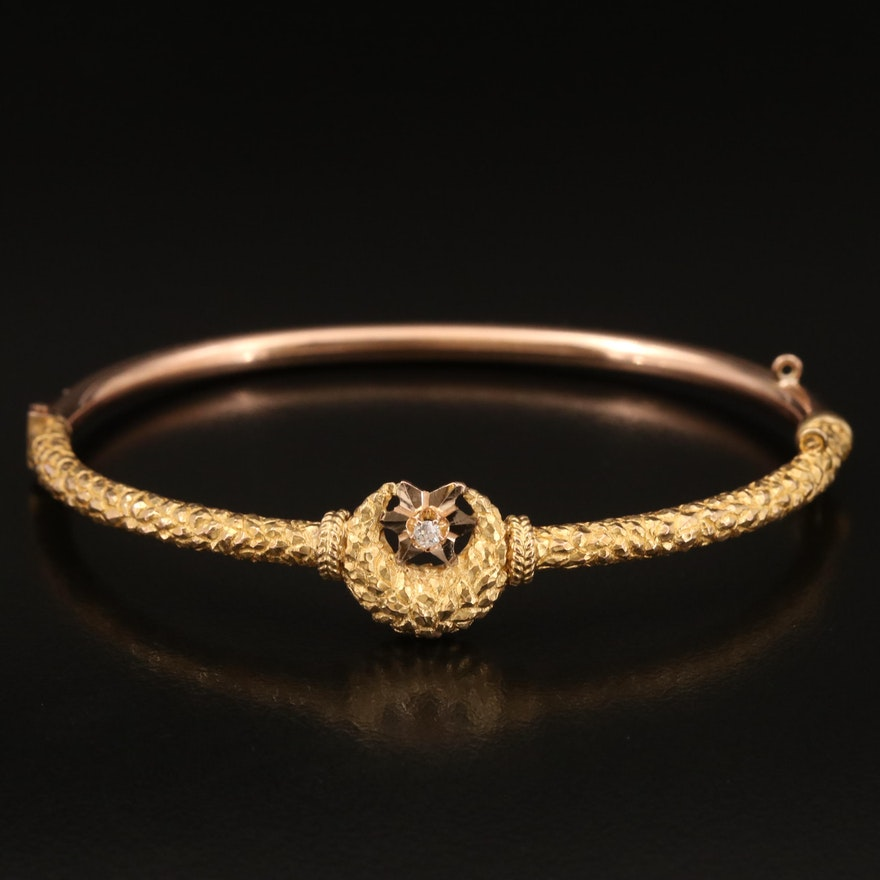 Victorian 12K 0.03 CTW Diamond Crescent Moon and Star Oval Hinged Bangle
