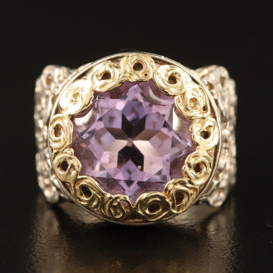 Israeli Sterling Amethyst Ring with 14K Accents