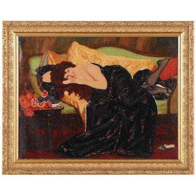 "Ekaterina Chunayeva Oil Painting ""Woman with Fruits,"" 1996"