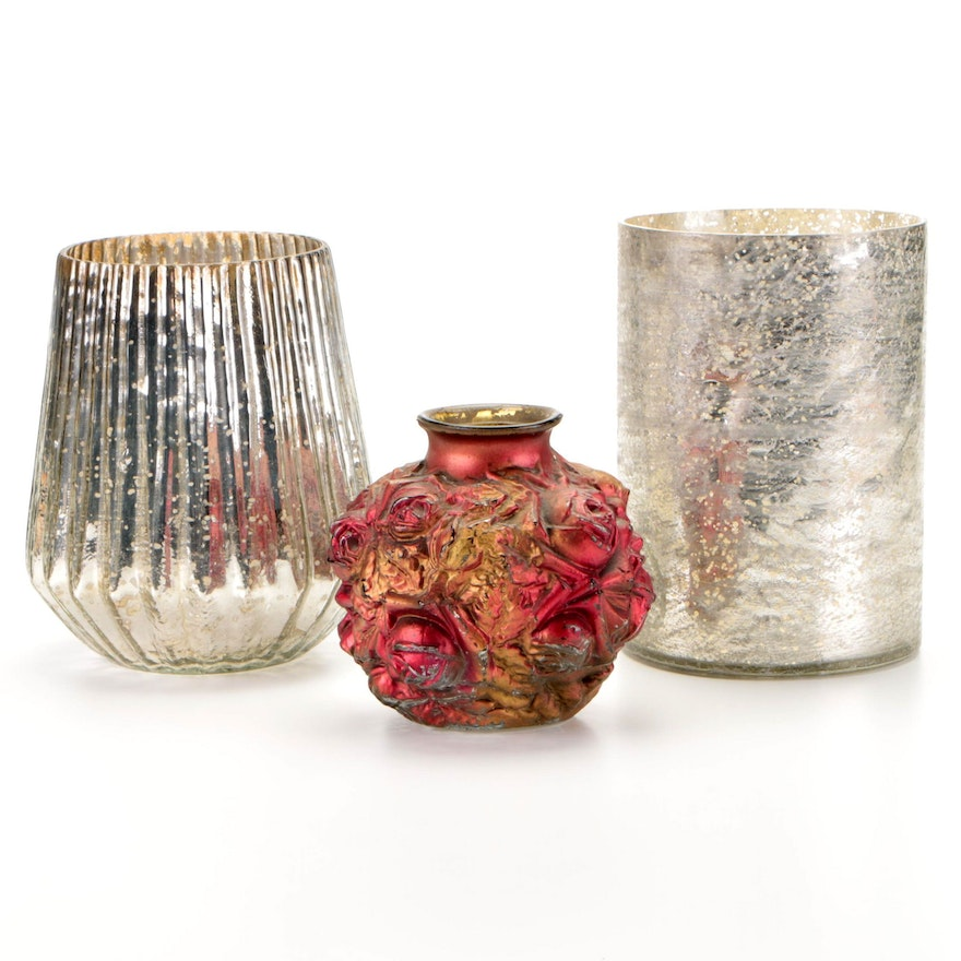 """Indiana Glass """"Cabbage Rose"""" Goofus Glass and Other Mercury Glass Style Vases"""