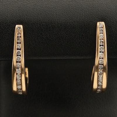 14K 0.91 CTW Diamond Channel Set J Hoop Earrings