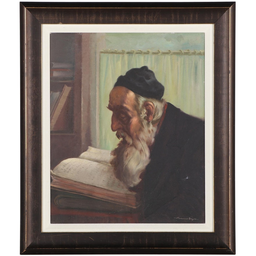 "Lajos Polczer Portrait Oil Painting ""Rabbi,"" Mid-20th Century"
